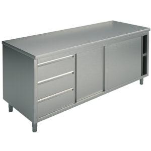 Neutraler Arbeitsschrank mit eingebauter Schubladeneinheit links, ohne Aufkantung, 1800×600 mm